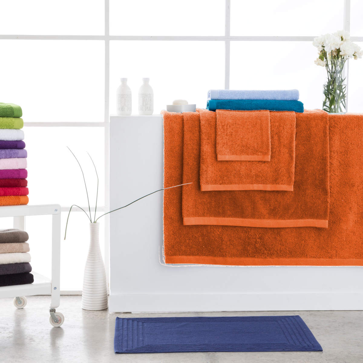 Toallas de baño abece modelo alfa color naranja