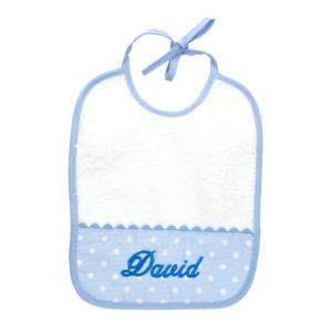 Babero para bebés color azul con cinta