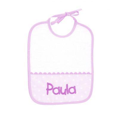 Babero para bebés color rosa con cinta