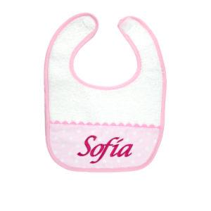 Babero para bebés color rosa con velcro
