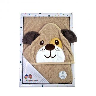 capa de baño bebe 100% algodón con carita de perro