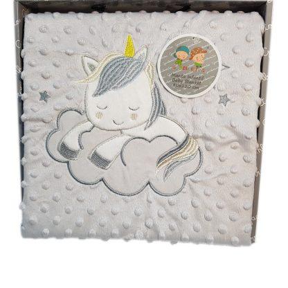 Manta bebé con topitos y unicornio bordado, suave y cómoda gris
