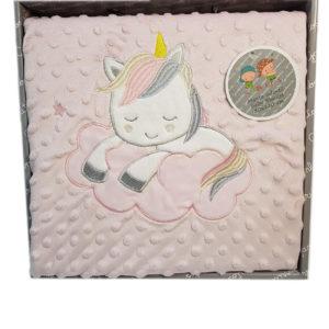 Manta bebé con topitos y unicornio bordado, suave y cómoda
