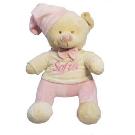 Osito de peluche bordado con mantita para regalo de bebé