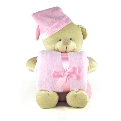 osito de peluche rosa bordado con mantita