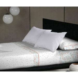 Juego de sábanas de 150 hilos, 100% algodón color naranja modelo albir