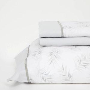 Juego de sábanas de 150 hilos, 100% algodón color gris