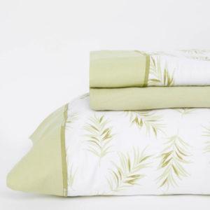 Juego de sábanas de 150 hilos, 100% algodón color verde