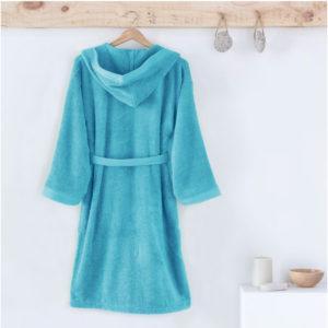 Albornoz infantil con capucha, en rizo americano de algodón., color azul
