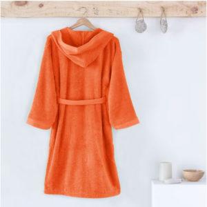Albornoz infantil con capucha, en rizo americano de algodón., color naranja