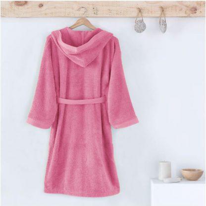 Albornoz infantil con capucha, en rizo americano de algodón., color rosa