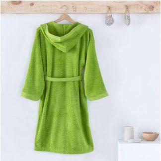 Albornoz infantil con capucha, en rizo americano de algodón., color verde