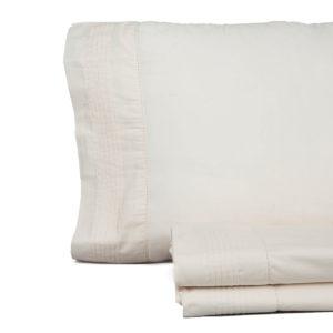 Juego de sábanas vintage de don algodón modelo vainica beige