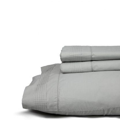 Juego de sábanas vintage de don algodón modelo vainica gris