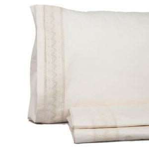 Juego de sábana vintage don algodón modelo ursula blanco