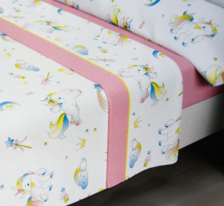 sabanas de sedalina modelo unicornios para camas de 90