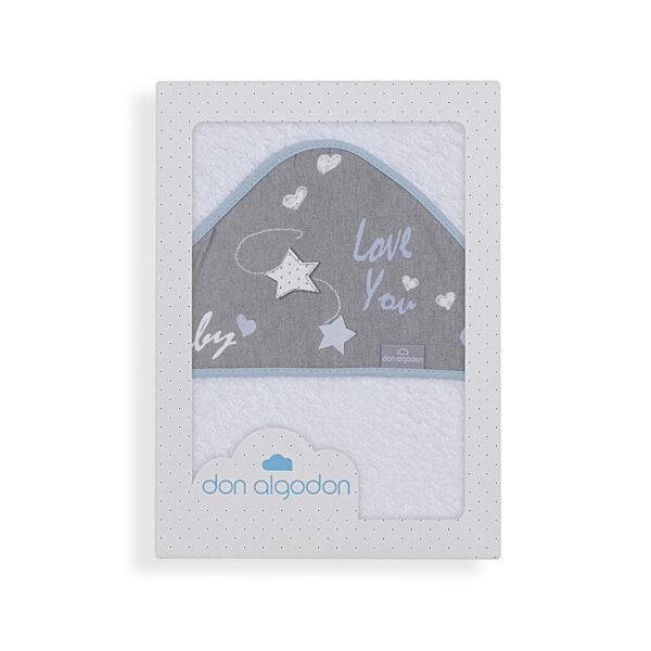 Capa de baño bebé Don Algodón 100x100 cm 100% algodón blanca biés azul