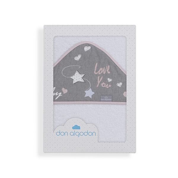 Capa de baño bebé Don Algodón 100x100 cm 100% algodón blanca biés rosa