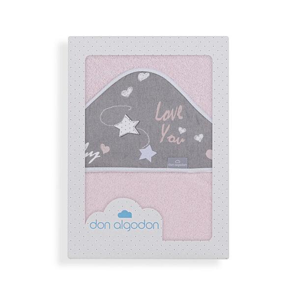 Capa de baño bebé Don Algodón 100x100 cm 100% algodón rosa
