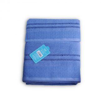 Juego de toallas para el baño, 100% algodón con bonitos damascos bordados en dos tonos azul.