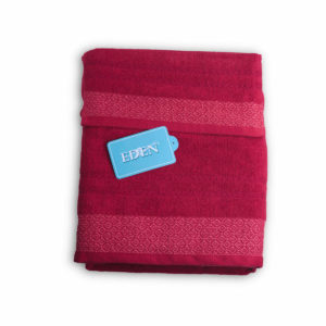 Juego de toallas para el baño, 100% algodón con bonitos damascos bordados en dos tonos roja.